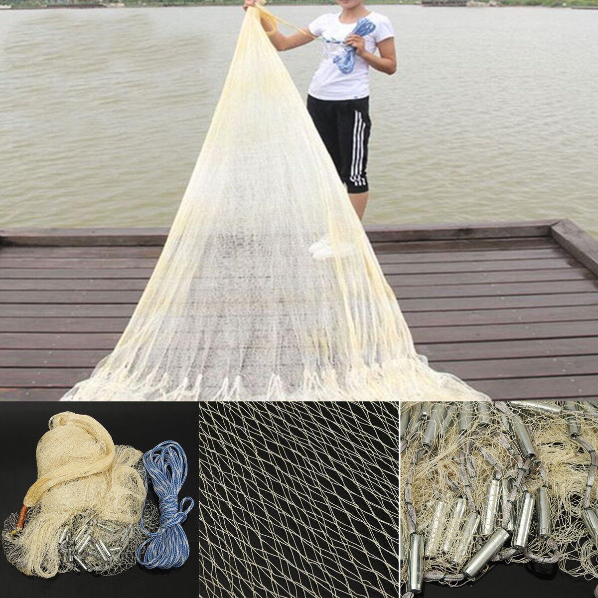 10FT Big Fishing Net Nylon Monofilament Mesh Easy Throw Casting & Sinker 3X4M US