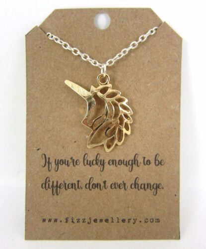 """Girls Silver Gold Unicorn /""""Don/'t Change/"""" 18/"""" Necklace New Message Card Necklace"""