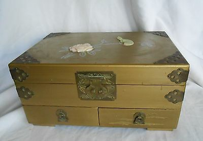 Collectible Vintage Wood Music Box Jewlery Trinket Made in Shanghai, China