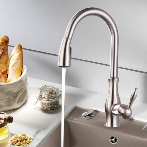Küchenarmatur Ausziehbar 360° Drehbar Einhebel Küchen Küchenmischer Nickel DHL