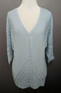 NWT-New-York-amp-Company-Women-039-s-Size-XS-Blue-V-Neck-Sweater-3-4-Sleeve