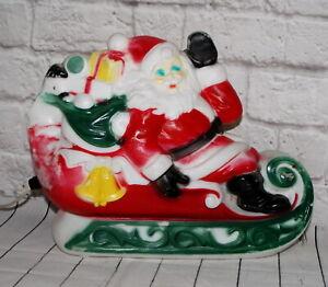 Vintage-Plastic-Blow-Mold-Santa-on-Sleigh-with-Toys-Christmas-Yard-Decor-Empire