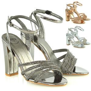 Para-mujeres-Sandalias-de-tiras-y-Correa-en-el-tobillo-Damas-Bloque-Tacon-Alto-Fiesta-Zapatos-de