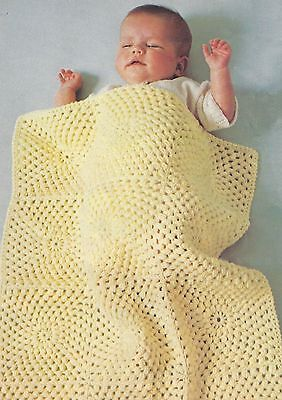 Easy Baby Crochet Blanket/Shawl Pattern in squares beautiful cover DK 770