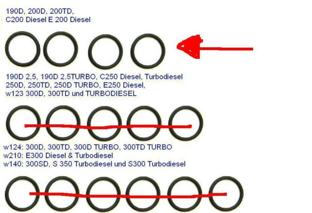 MERCEDES O-RINGE ESP DIESEL EINSPRITZPUMPE W123 W124 W202 190 190D 200 E200 C200