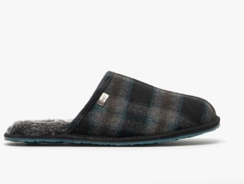 Lazy Dogz BARKLEY Mens Soft Warm Breathable Textile Slip-On Mule Slippers Teal