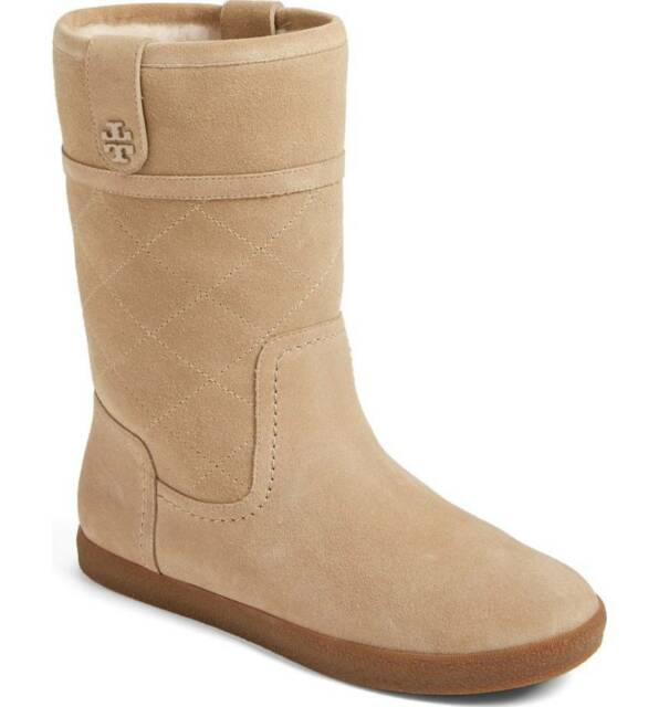 8 NIB #31597 Tory Burch Alana Genuine Shearling Boot light camel size 7