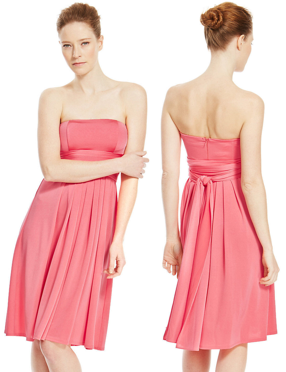New M&S Collection Bright Coral  Multiway 5 in 1  Dress Sz