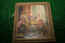 1935 G.F. Bastian Signed small oil painting Indiana Hoosier artist floral still