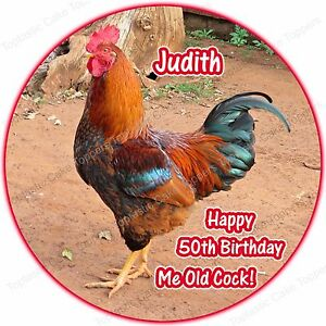 personalised chicken rooster cockerel bird round edible icing cake