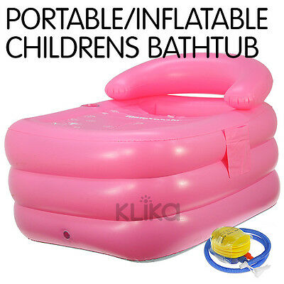 NEW CHILDREN PINK INFLATABLE BATH TUB PORTABLE BABY WITH PUMP BLOW UP BLOWUP