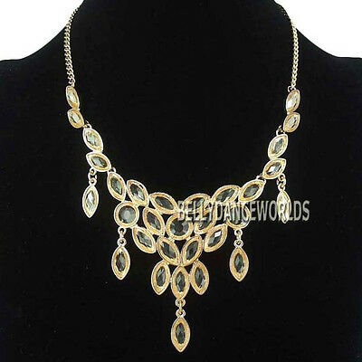 MARQUISE CUT WATERFALL TRANSPARENT PENDANT BIB NECKLACE JEWELRY GOLDEN CHAIN NEW