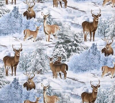 Fat Quarter Wild Wings Crystal Glenn Winter Horses Cotton Quilting Sewing Fabric