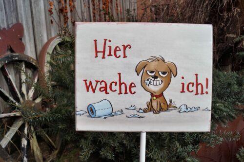 Metall Schild auf Stab mit Hund Hier wache Ich Geschenk Garten Dekoration