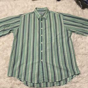 Levis-Mens-Size-Large-Green-Colorgraphs-Short-Sleeve-Button-Down-Shirt-EUC