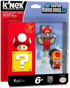 New Super Mario Bros U Flying Squirrel Mario, Fire Toad & Mystery Figure 3-Pack