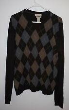 BANANA REPUBLIC Brown Silk Cashmere Argyle Sweater Men's L V-neck