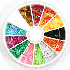 12 Mix Colors Glitter Heart Star Hollow Spangles Decoration for Nail Art Tips