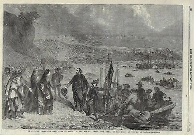 Antique Print 1860 Sicilian Expedition Departure of Garibaldi from Genoa