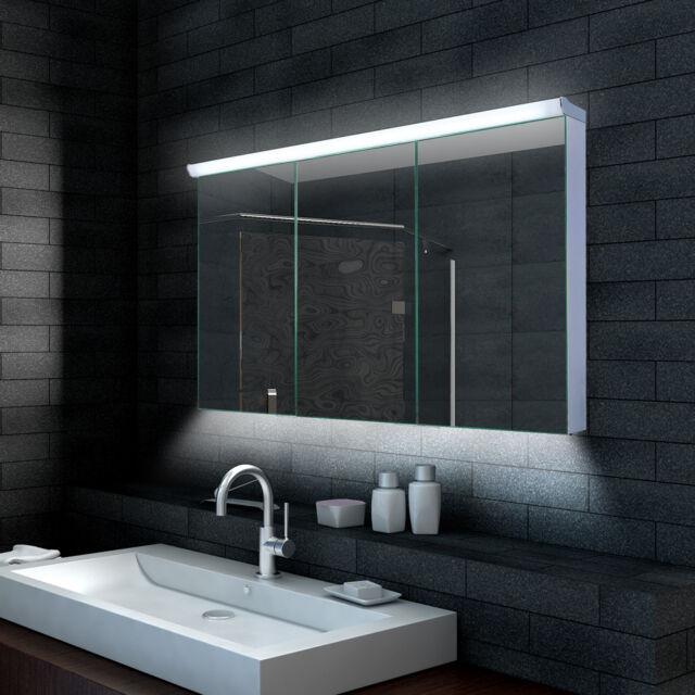 Alu LED Bad Badezimmer Spiegelschrank mit Steckdose 120x70cm ...
