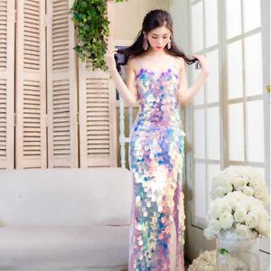 Women-039-s-Sequin-Rainbow-Overscale-Mermaid-Iridescent-Side-Slit-Bodycon-Long-Dress