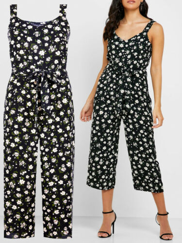 New Dorothy Perkins Size 10,12,16 /& 20  Black Floral Print Jumpsuit b20