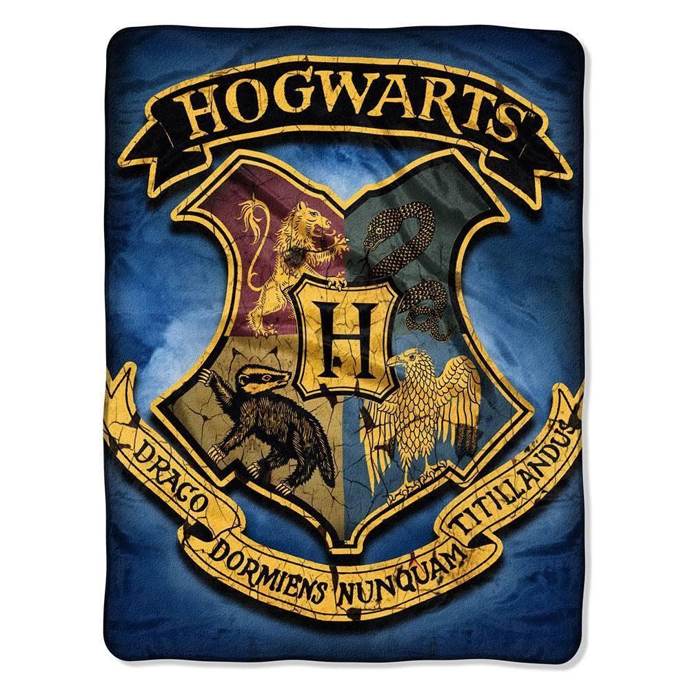 NEW Harry Potter Hidden School Soft Plush Throw Gift Blanket Hogwarts Crest bluee