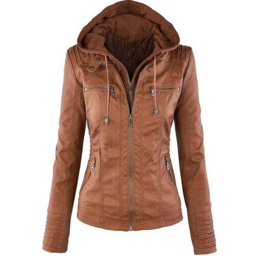 Women Stylish Jacket Slim Fit PU Leather Punk Suit Biker Casual Coat Top Outwear