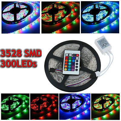 RGB 3528 LED Strip Flexible Lights Waterproof 5M 300+ 24 Remote Controller D002