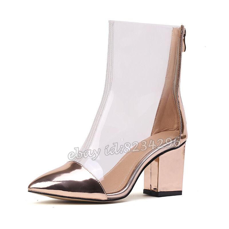 Modern Transparent Stiefeletten Damenschuhe Spitz Ankle Stiefel PVC Kurzer Stiefel Spitz Damenschuhe 3e3373