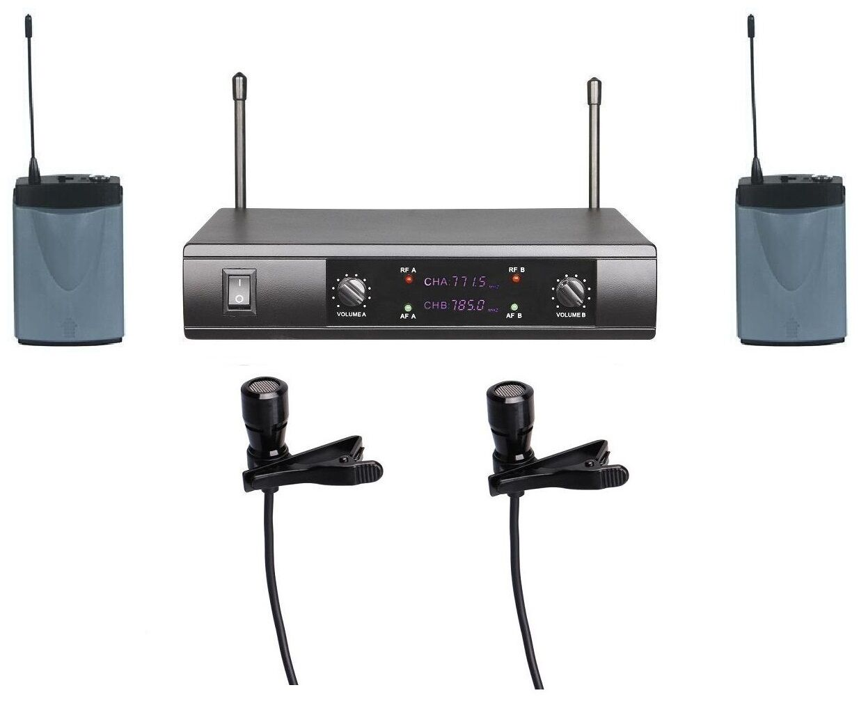 UHF Dual Wireless Lavalier Microphone System 2 Clip on mics Presentation Speech