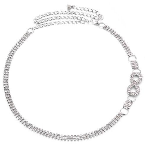 Le Donne Diamante Catena Cintura in vita regolabile Argento Accessorio Gioielli Da Sposa Riga