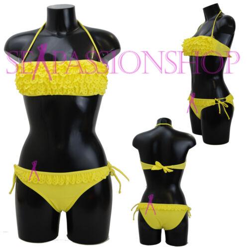 Estate Costume Mare Donna Bikini Fascia Colorato Slip Regolabile Merletto Cuore