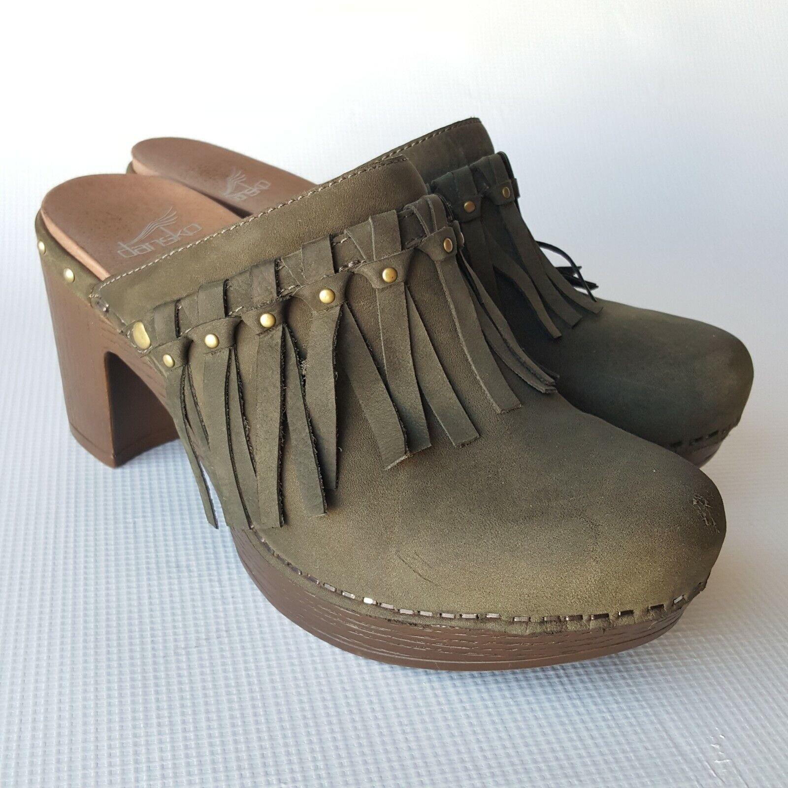 Dansko  Demi Fring Clog scarpe Olive Taupe Milled Nubuc Dimensione 37 (6.5 -7)  prezzi più convenienti