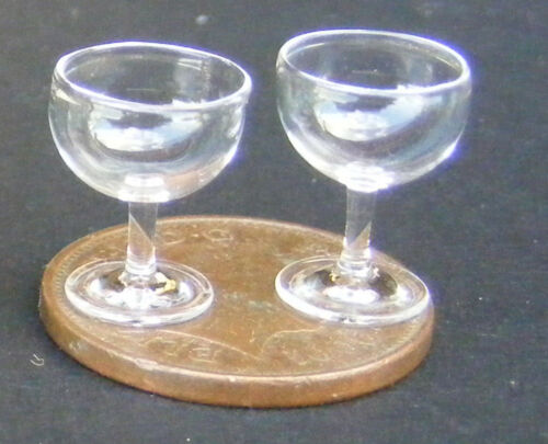 1:12 Scale 2 Champagne Glasses Tumdee Dolls House Miniature Accessory GLA17