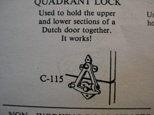 Miniature Dutch Door Quadrant Lock #C115-1//12th Scale