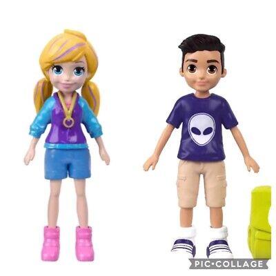 2 Mattel Polly Pocket Playsets Pogo-a-go Polly /& Selfie Stick Nicholas Figures