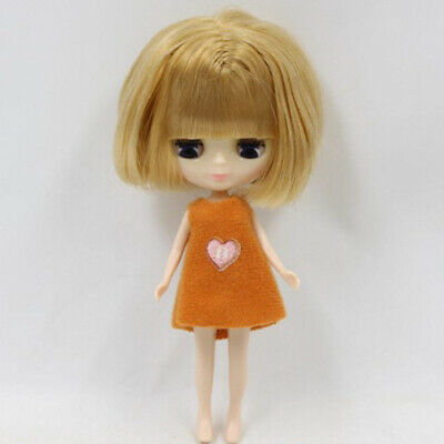 BJD Wig Blond Hair With Scalp For Mini Blythe Dollfie Doll Cosplay Accessory