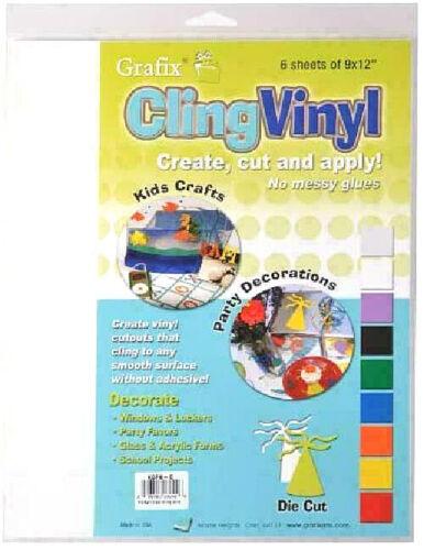 Grafix Clear Cling Vinyl Film  9X12 6//Pack New!