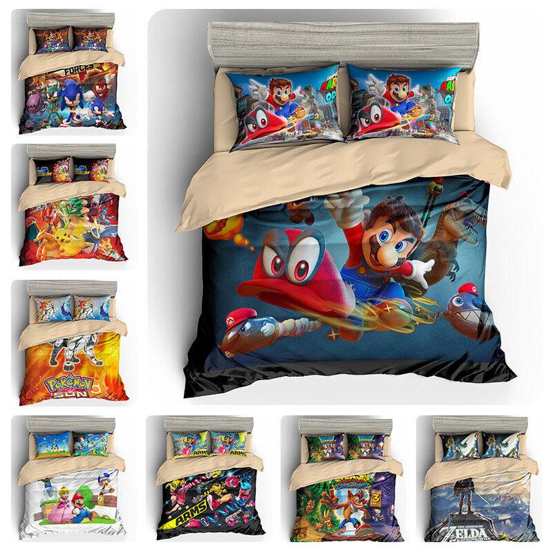 Pokemon Solgaleo Zelda Sonic Super Mario Kids Bedding Quilt Cover Set Pillowcase