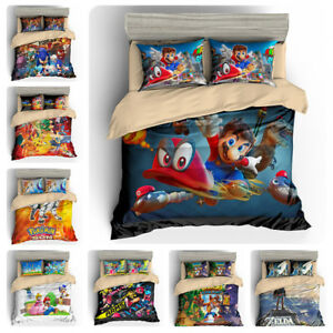 Super-Mario-Pokemon-Sonic-Splatoon-Zelda-Quilt-Cover-Kids-Bedding-Set-Pillowcase