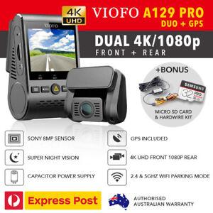 Viofo-A129-PRO-DUO-Dual-Dash-Cam-4K-UHD-GPS-WIFI-5Ghz-HW-KIT-amp-32GB-New