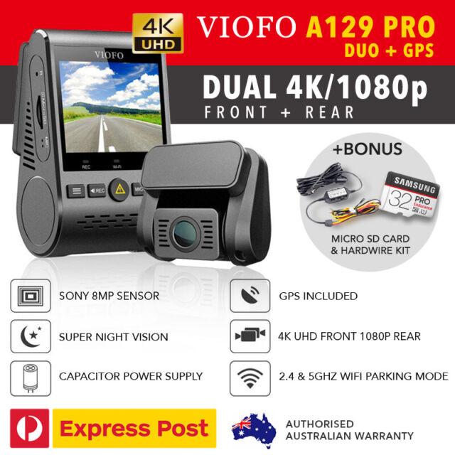 Viofo A129 PRO DUO Dual Dash Cam - 4K UHD + GPS + WIFI 5Ghz + HW KIT & 32GB New