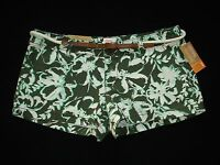 Mossimo Tropical Floral Print Khaki Shorts W/ Belt Various Jr Sizes Fit 6