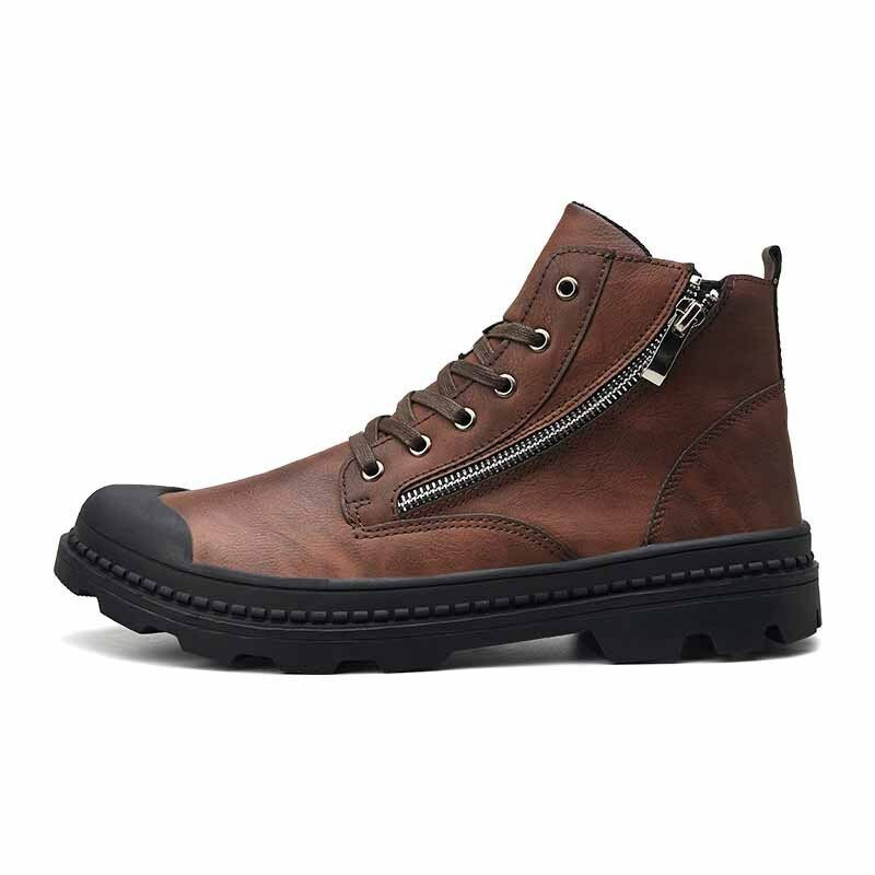 Desert shoes Men's Martin Boots Lace Up Outdoor Leather Ankle Flats Non-Slip New