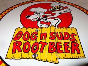 VINTAGE-034-DOG-N-SUDS-ROOT-BEER-034-11-3-4-034-PORCELAIN-METAL-RESTAURANT-SODA-POP-SIGN