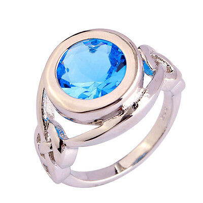 Free Ship NIce Blue Topaz Jewelry Pretty Noble Silver Ring Size 6 7 8 9 10 11 12
