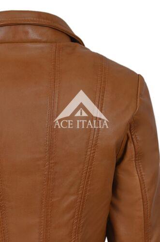 Top Model Donna Marrone Chiaro Stile Biker Reale Napa Giacca di Pelle Italiana 4110