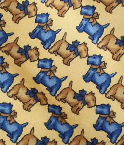 Novelty-Tie-Terrier-Dogs-with-Bows-Blue-Yellow-no-Tag