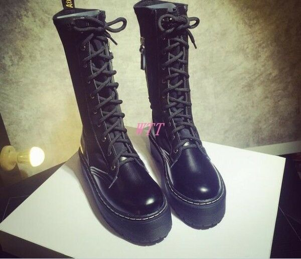 Para mujeres Plataforma Negro Mitad de de de Pantorrilla Con Cordones Punk Gótico Pu De Cuero Zapatos Puntera rojoonda  los clientes primero